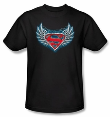 Superman Kids T-shirt Steel Wings Logo Black Tee Youth