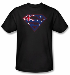 Superman Kids T-shirt Australian Shield Logo Black Tee Youth