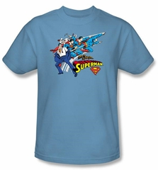 Superman Kids T-shirt Quick Change DC Comics Carolina Blue Tee Youth
