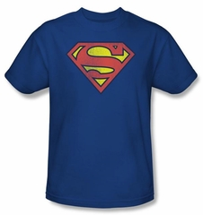 Superman Kids T-Shirt Retro Supes Logo Distressed Royal Tee Youth