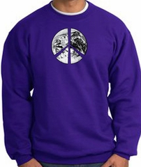 Peace Sweatshirt Peace Earth Satellite Image Sweatshirt Purple