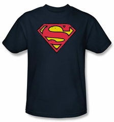 Superman Logo Kids Shirt Distressed Shield Youth Navy Blue Tee T-Shirt