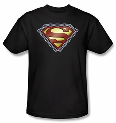Superman Logo Kids T-shirt Chained Shield Black Superhero Tee Youth
