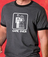 Game Over T-shirt Marriage Funny Heather Ringer Tee Shirt