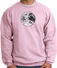 Peace Sweatshirt Peace Earth Satellite Image Sweatshirt Pink