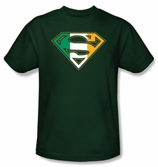 Superman Logo Kids T-Shirt Irish Shield Ireland Hunter Green Tee Youth