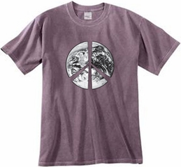 Peace Shirt Peace Earth Satellite Image Pigment Dyed Tee Eggplant