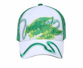 Two Tone Hat with Screen Print and Ribbon - Lackpard Cap - Kelly Green