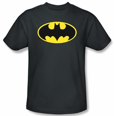 Batman T-Shirt - Classic Bat Logo Adult Charcoal Tee