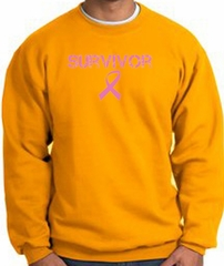 Breast Cancer Sweatshirt Ribbon Distressed Survivor Gold Sweat Shirt