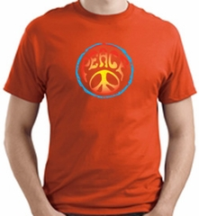 PSYCHEDELIC PEACE Sign Symbol Adult T-shirt - Orange