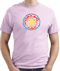 PSYCHEDELIC PEACE Sign Symbol Adult T-shirt - Pale Pink