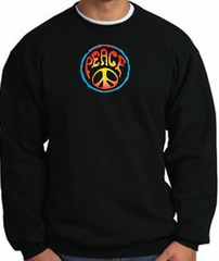 PSYCHEDELIC PEACE World Peace Sign Symbol Adult Sweatshirt - Black