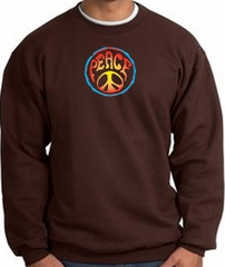 PSYCHEDELIC PEACE World Peace Sign Symbol Adult Sweatshirt - Brown