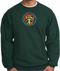 Peace Sign Sweatshirt Psychedelic Peace Sweat Shirt Dark Green