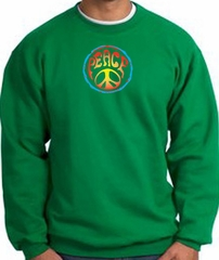 Peace Sign Sweatshirt Psychedelic Peace Sweat Shirt Kelly Green