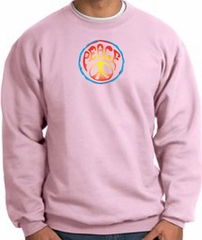 PSYCHEDELIC PEACE World Peace Sign Symbol Adult Sweatshirt - Pink