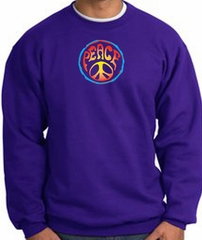 PSYCHEDELIC PEACE World Peace Sign Symbol Adult Sweatshirt - Purple