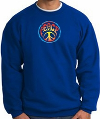 PSYCHEDELIC PEACE World Peace Sign Symbol Adult Sweatshirt - Royal