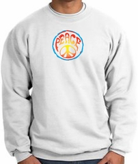 PSYCHEDELIC PEACE World Peace Sign Symbol Adult Sweatshirt - White