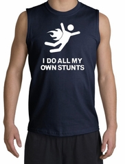 I Do All My Own Stunts Shirt White Print Muscle Shirt Navy