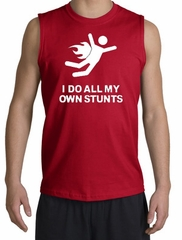 I Do All My Own Stunts Shirt White Print Muscle Shirt Red
