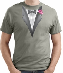 Tuxedo T-shirt With Pink Flower Stonewashed Green Shirt