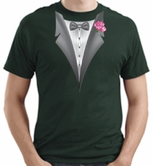 Tuxedo T-shirt With Pink Flower - Dark Green