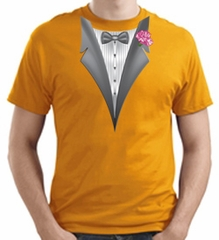 Tuxedo T-shirt With Pink Flower - Gold