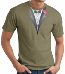 Tuxedo T-shirt With Pink Flower - Army Green