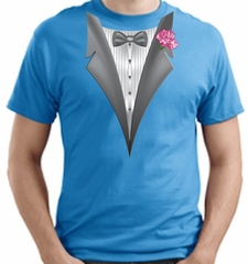 Tuxedo T-shirt With Pink Flower - Aquatic Blue