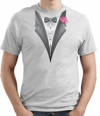 Tuxedo T-shirt With Pink Flower - Ash