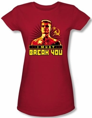 Rocky Juniors T-Shirt I Must Break You Drago Red Tee Shirt