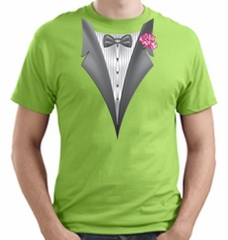 Tuxedo T-shirt With Pink Flower - Lime Green