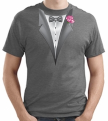 Tuxedo T-shirt With Pink Flower - Heather Gray