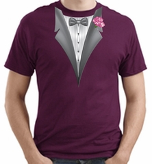 Tuxedo T-shirt with Pink Flower - Maroon