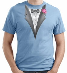Tuxedo T-shirt with Pink Flower - Light Blue