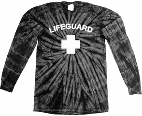 Lifeguard T-shirt - Tie Dye Long Sleeve Spider Black