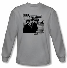The Blues Brothers T-shirt Movie Mission Silver Long Sleeve Tee Shirt