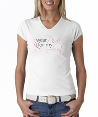 Breast Cancer Ladies Shirt V-neck I Wear Pink For My Aunt White