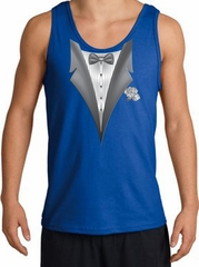 Tuxedo Tank Top with White Flower - Royal Blue
