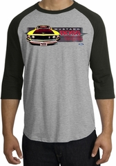 Ford Mustang Boss Raglan Shirt - 302 Yellow Mustang Heather Grey/Black