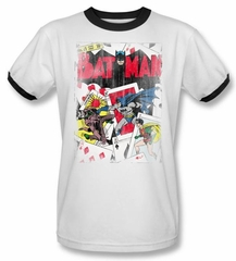 Batman Ringer T-Shirt - Number 11 Distressed Adult White/Black Tee