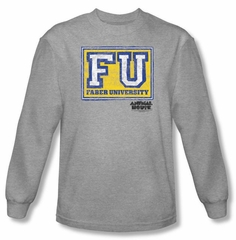 Animal House T-shirt Faber University Athletic Heather Long Sleeve Tee