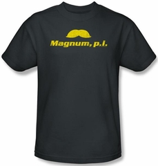 Magnum PI T-shirt The Stache Adult Charcoal Tee Shirt