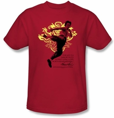 Bruce Lee T-shirt Adult Immortal Dragon Red