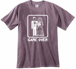 Game Over Pigment Dyed T-shirt Funny Eggplant Tee - White Print