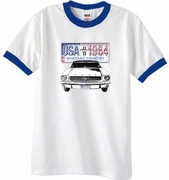 Ford Mustang Ringer T-Shirts - USA 1964 Country Adult Tee Shirts