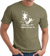 I Do My Own Stunts Crashing and Falling White Print Army T-shirt