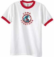 COME TOGETHER World Peace Sign Symbol Adult Ringer T-shirt - White/Red